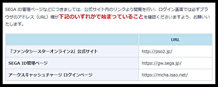 PSO2公式サイトの正しいURL一覧