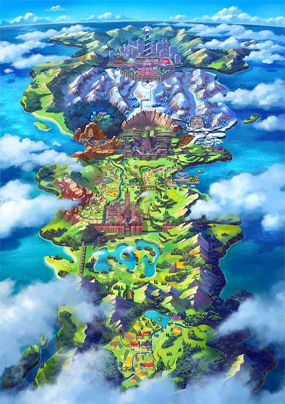 ポケットモンスターソード・シールドの舞台ガラル地方の全体地図