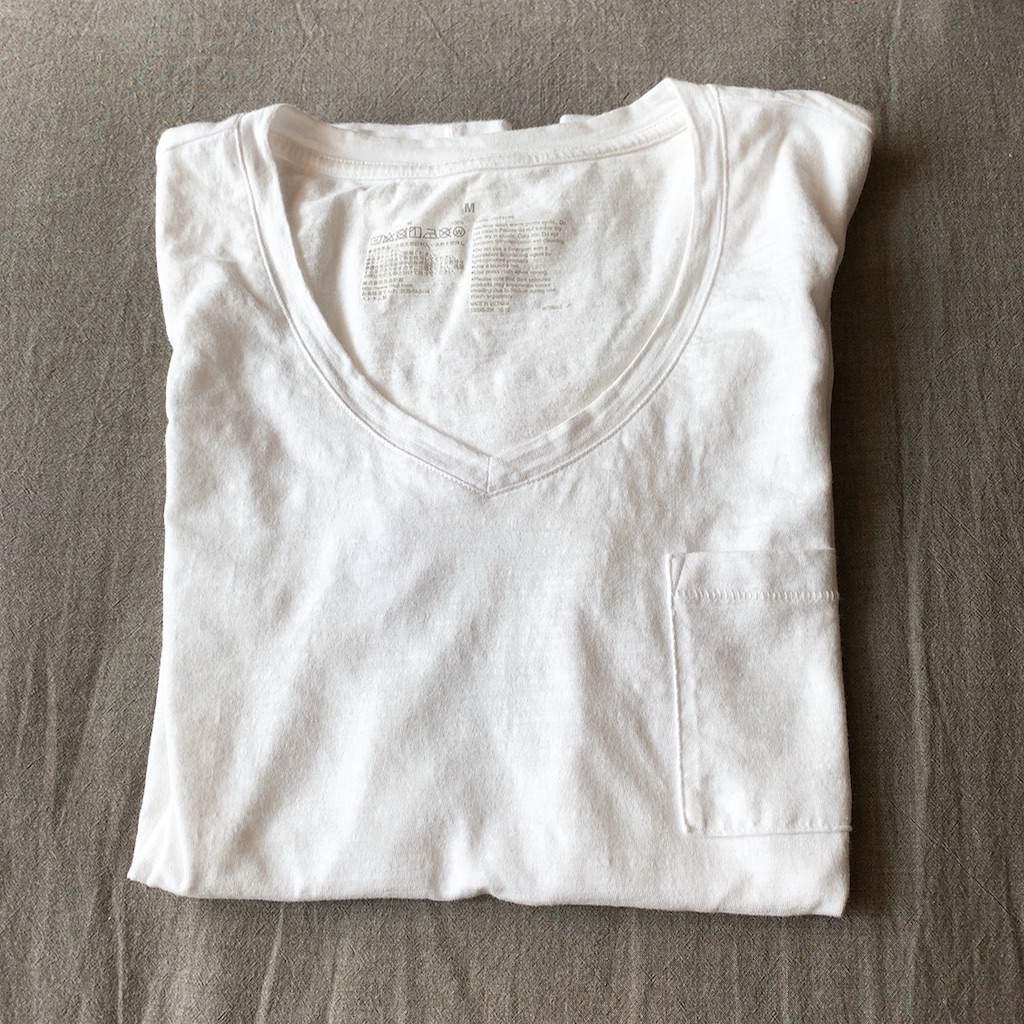 無印良品 ムラ糸天竺編み Vネック半袖Tシャツ