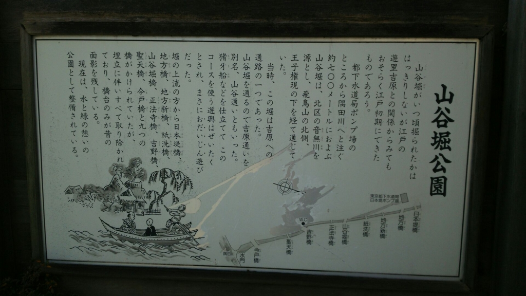 山谷堀公園の看板