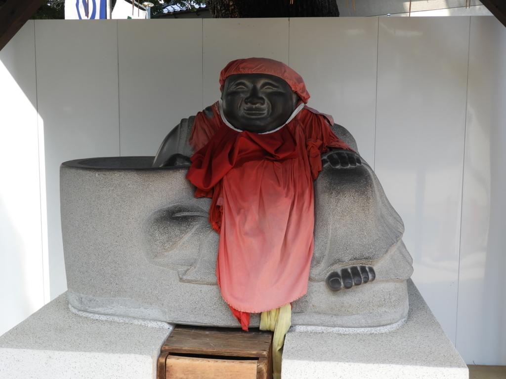 穴八幡宮の布袋像の水鉢
