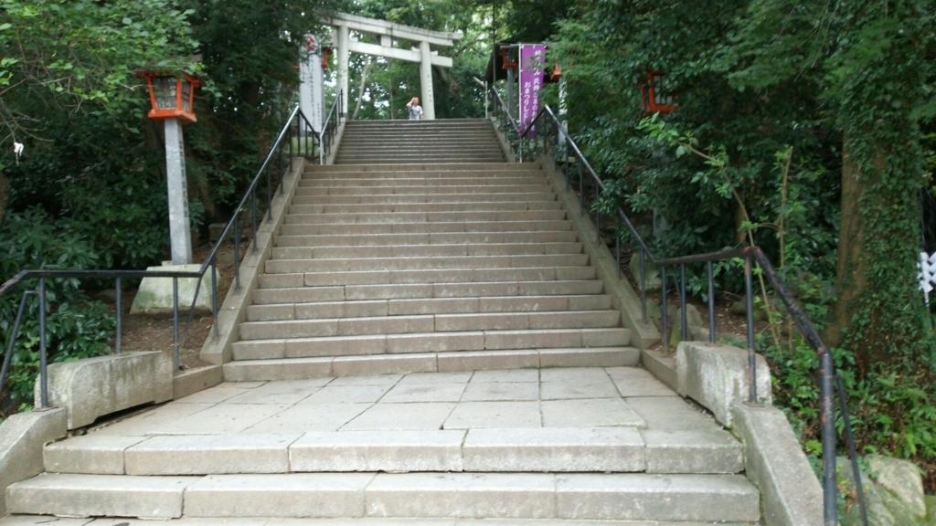 谷保天満宮の急な下り階段