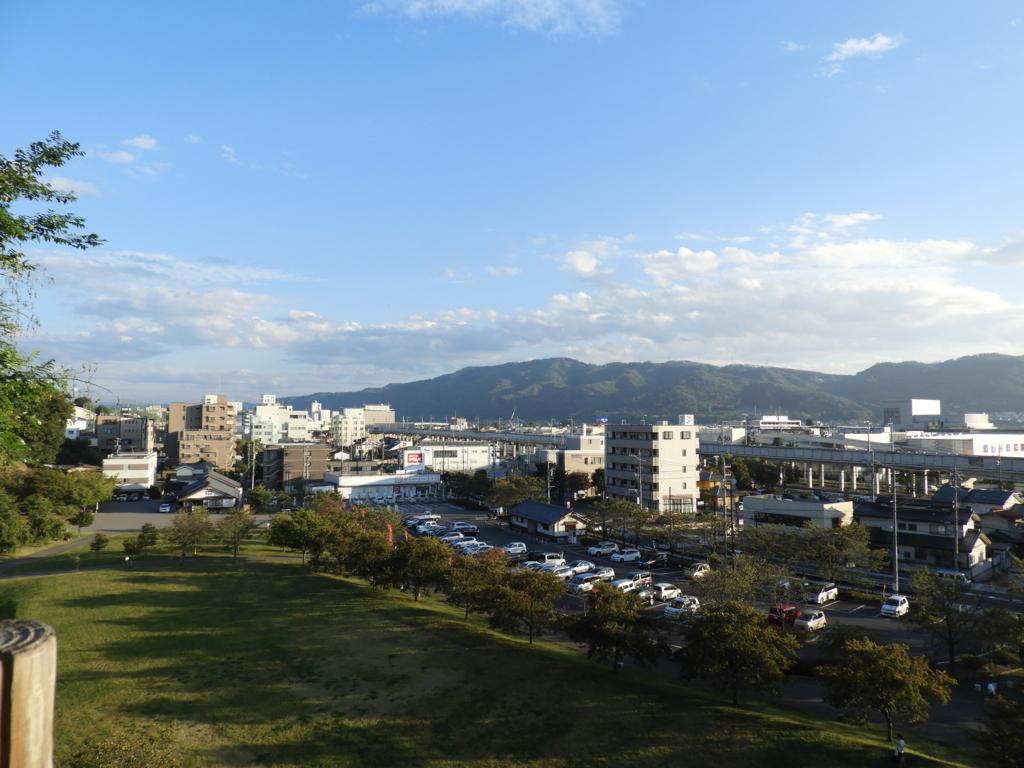 眞田神社の西櫓から一望できる上田市街