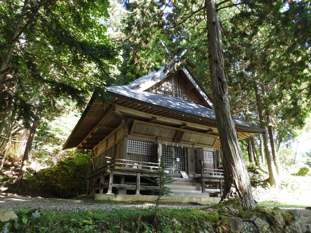 杉木立の中に建てられた戸隠神社火之御子社の社殿