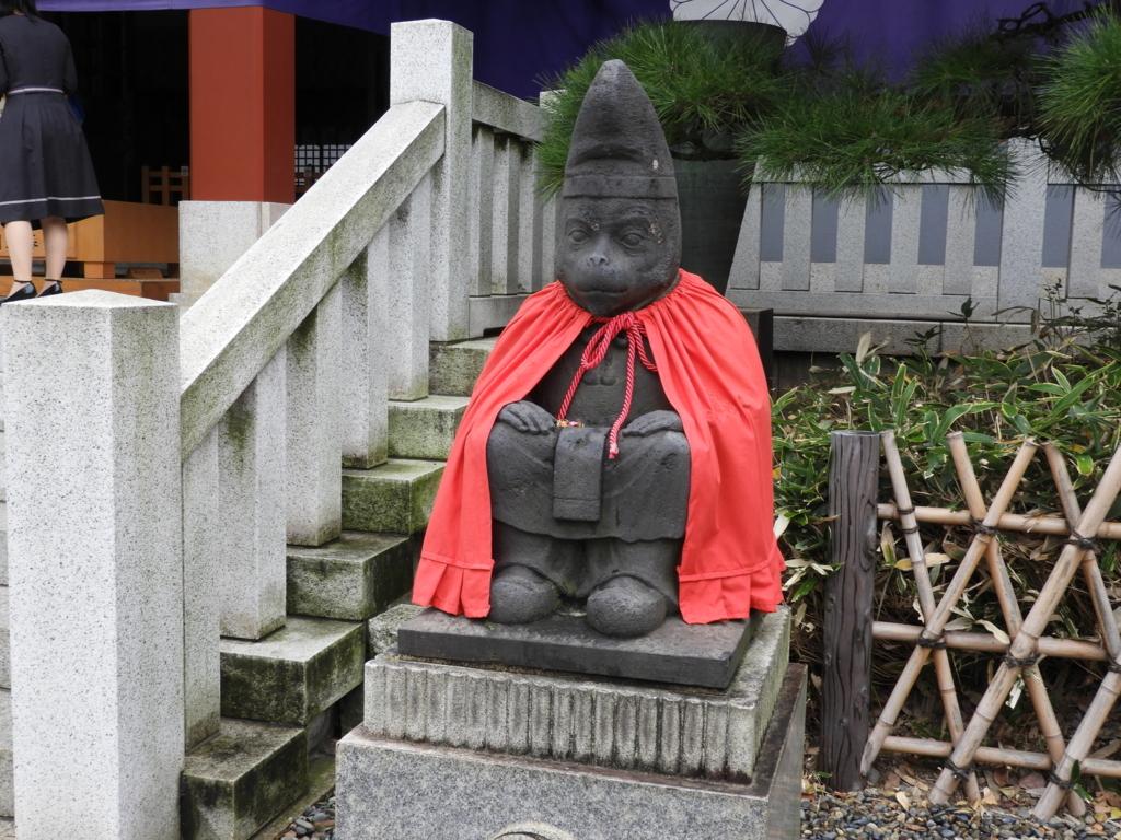 日枝神社に置かれた申年最強のパワースポットである狛猿