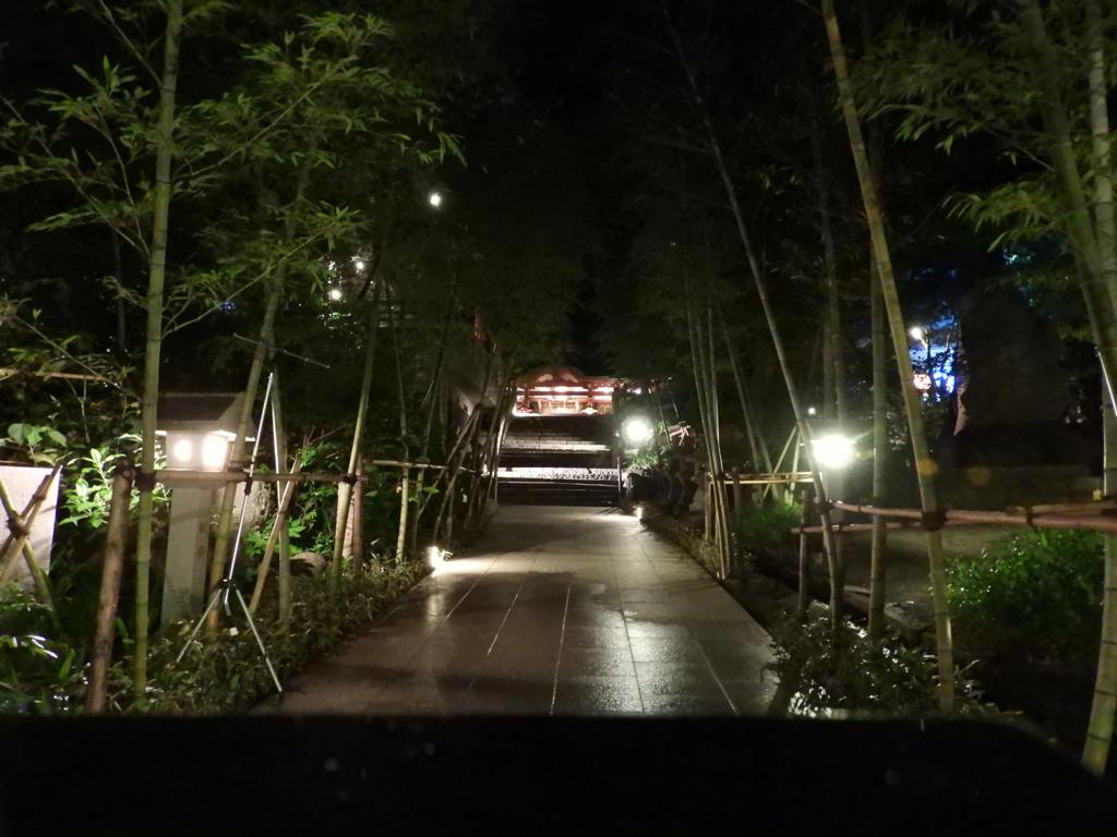 夜間にライトアップされた来宮神社の参道