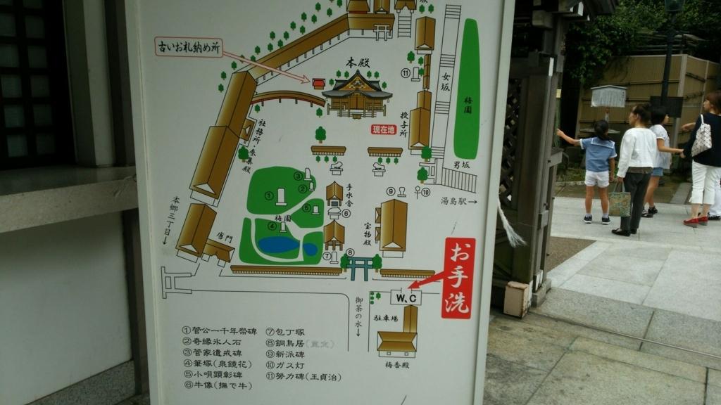 湯島天満宮の境内案内図