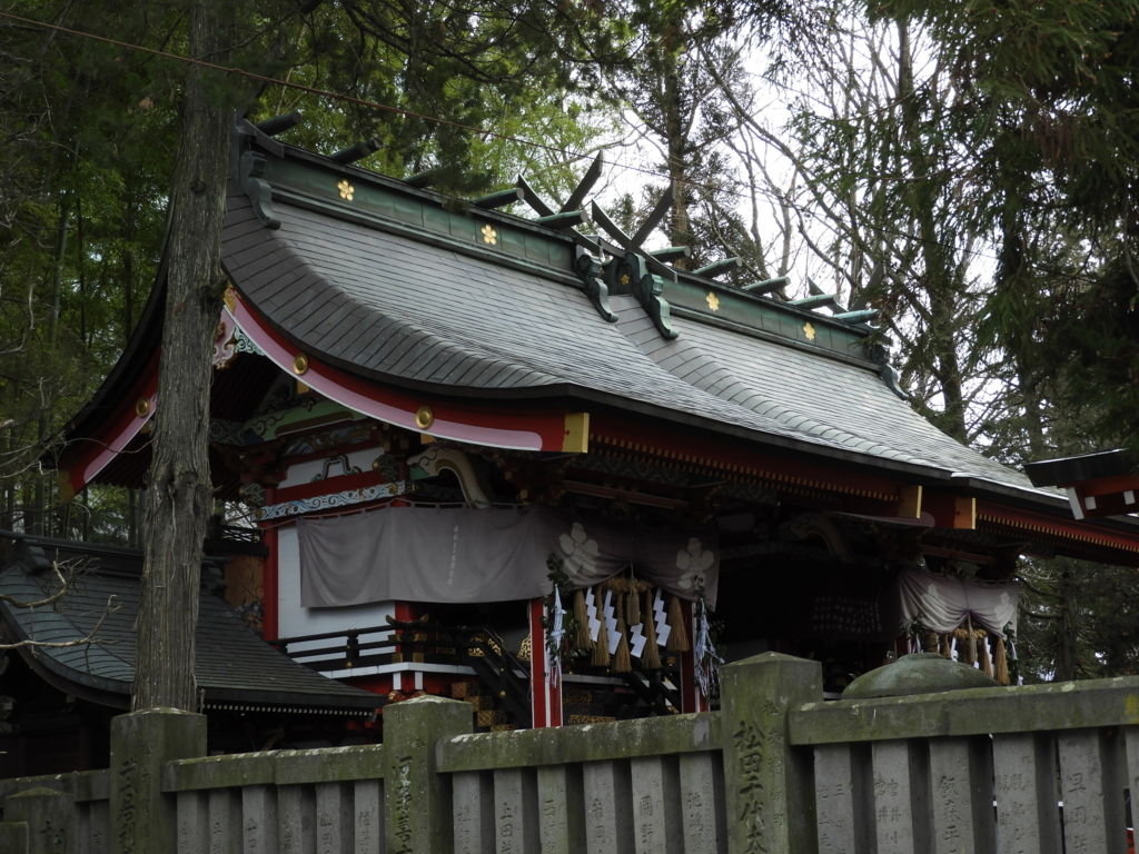 深志神社の拝殿の裏にある二つの本殿