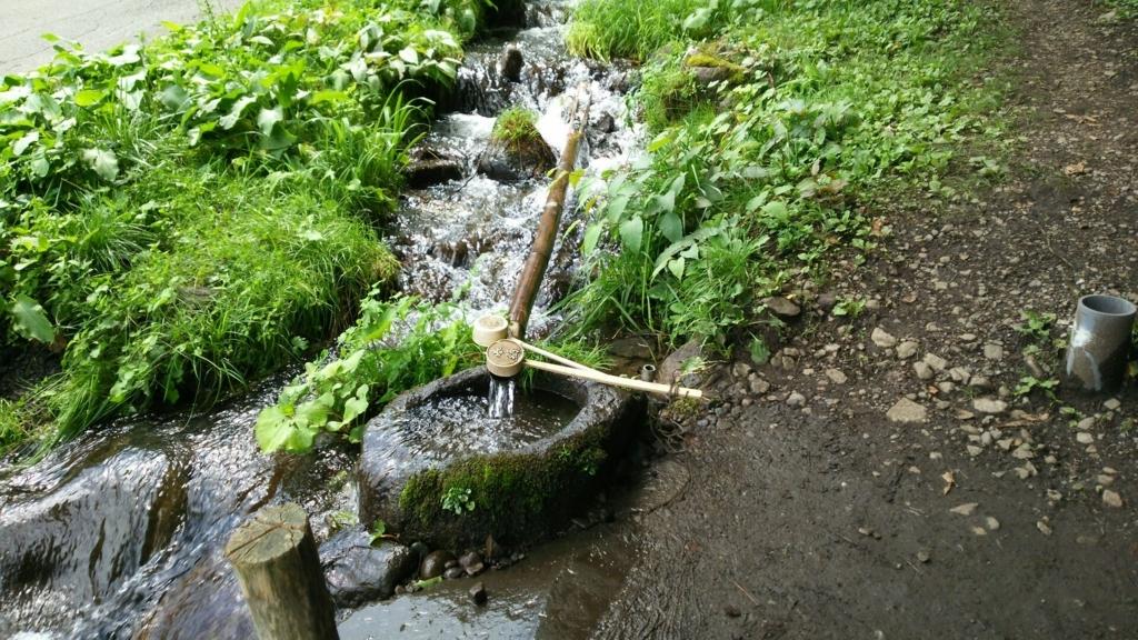 諏訪大社上社前宮の参道の側溝を流れていた異様に綺麗な水