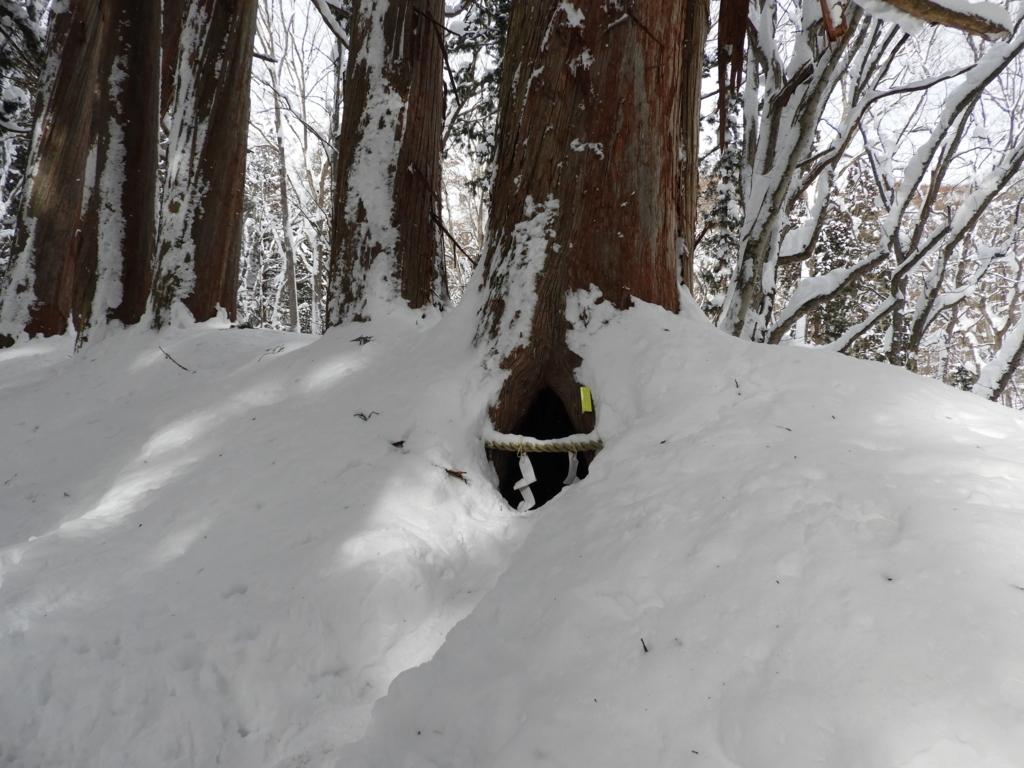 半分雪に埋まった、吉永小百合が中に入った杉の祠