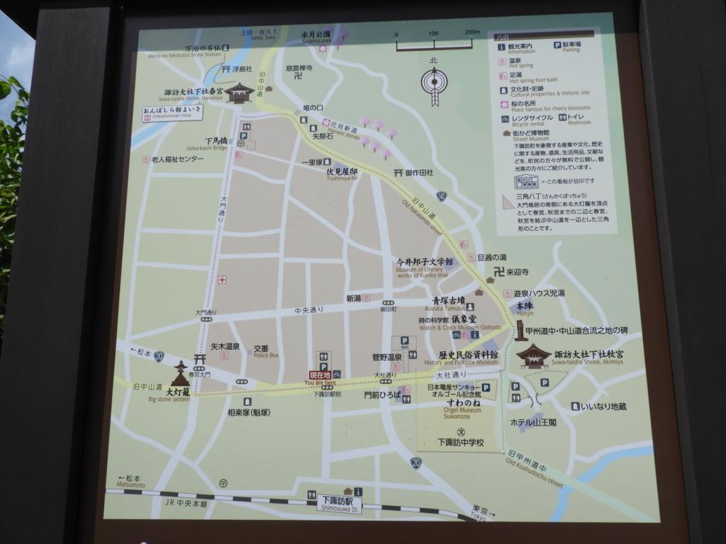 春宮大門から諏訪大社下社春宮まで続く大門通りの案内図