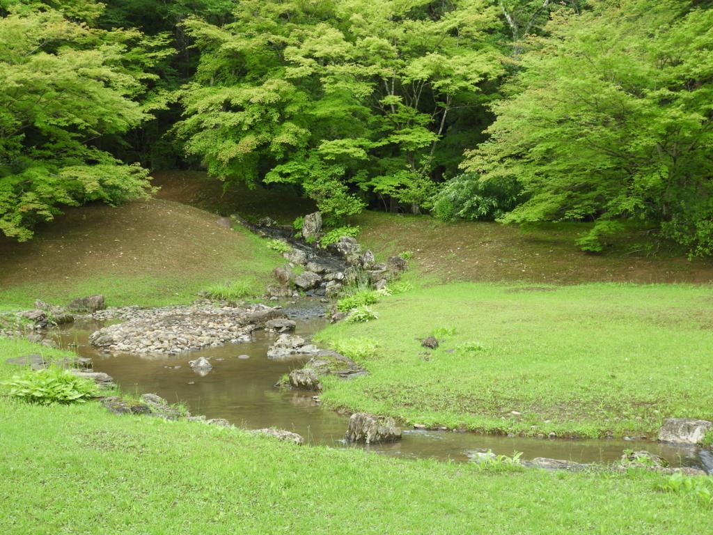 発掘調査中に完全な形で発見された毛越寺の遣水