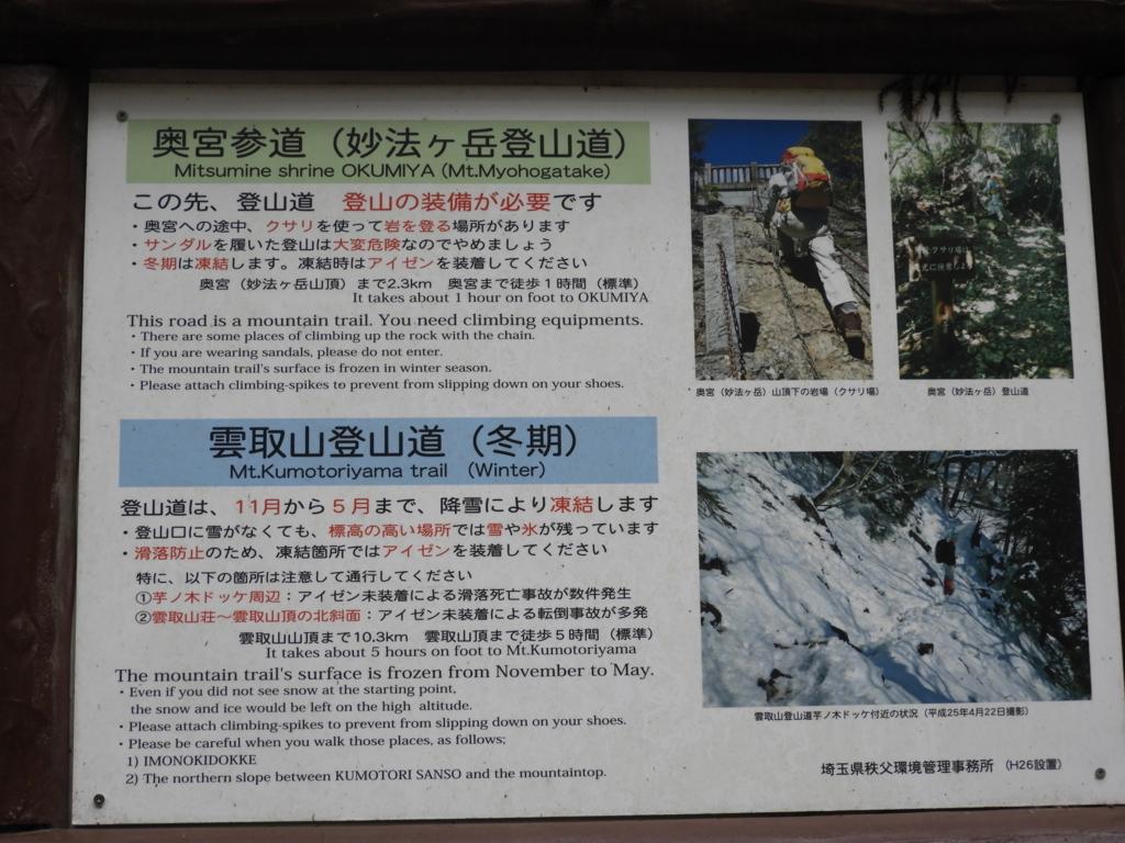 「登山の装備が必要」という掲示
