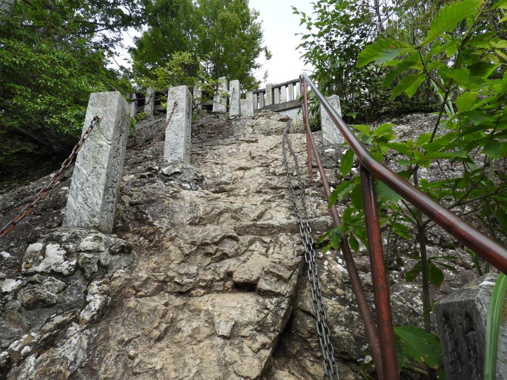 三峯神社奥宮への鎖場