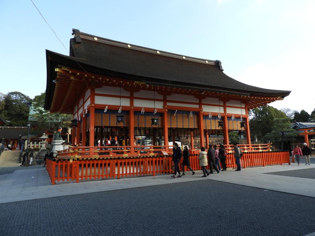 1840年に建立された伏見稲荷大社の外拝殿