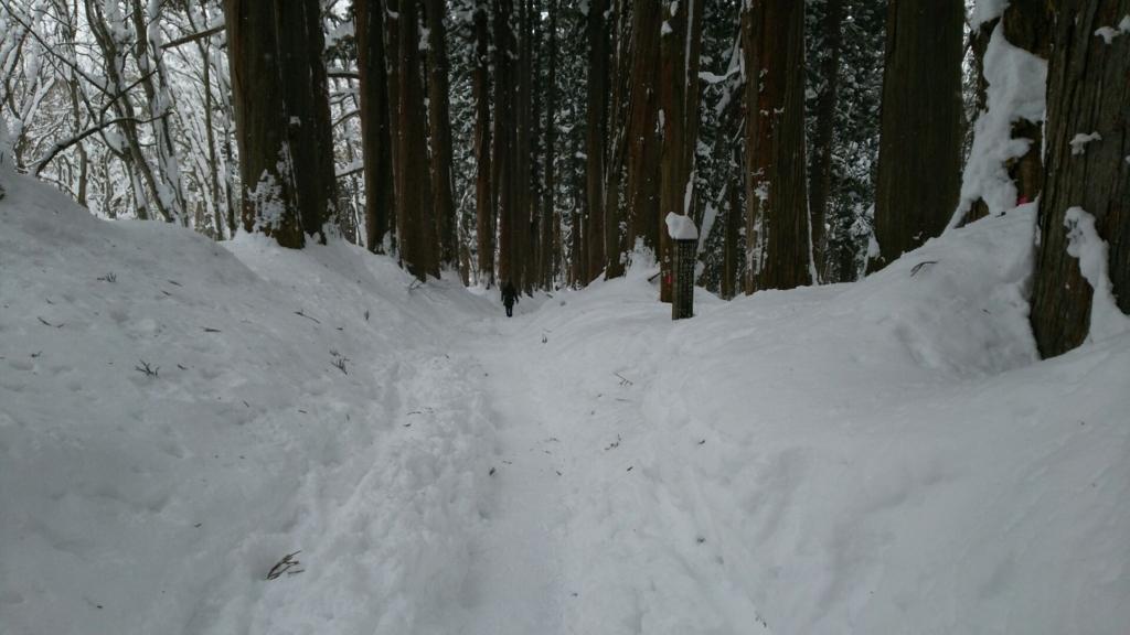 勢いがついてしまう戸隠神社参道の雪深い急斜面