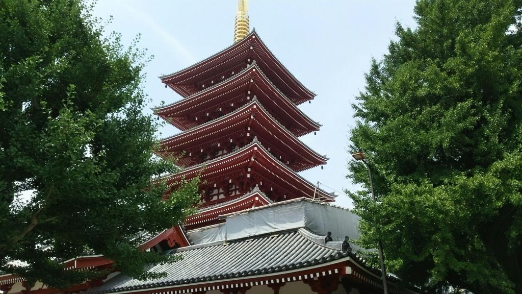 浅草寺の鉄筋コンクリート造の五重塔
