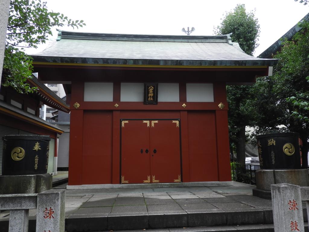 江戸時代以前から祀られていた神田明神の境内社の大伝馬町八雲神社