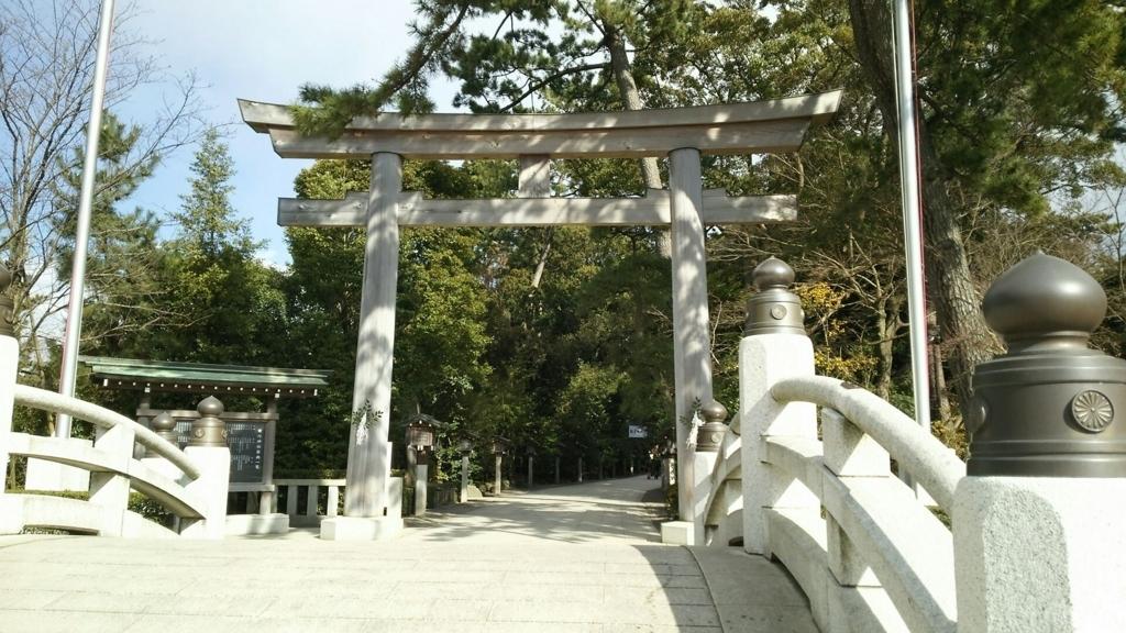 寒川神社の神池橋と三の鳥居