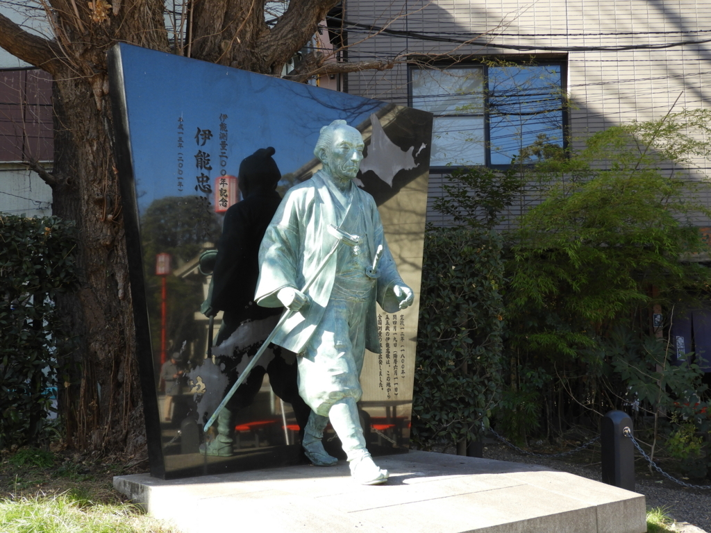 いつも富岡八幡宮にお参りしていた伊能忠敬像