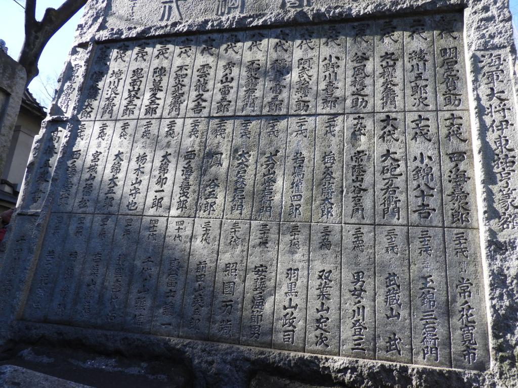 横綱力士碑に刻まれた歴代横綱1