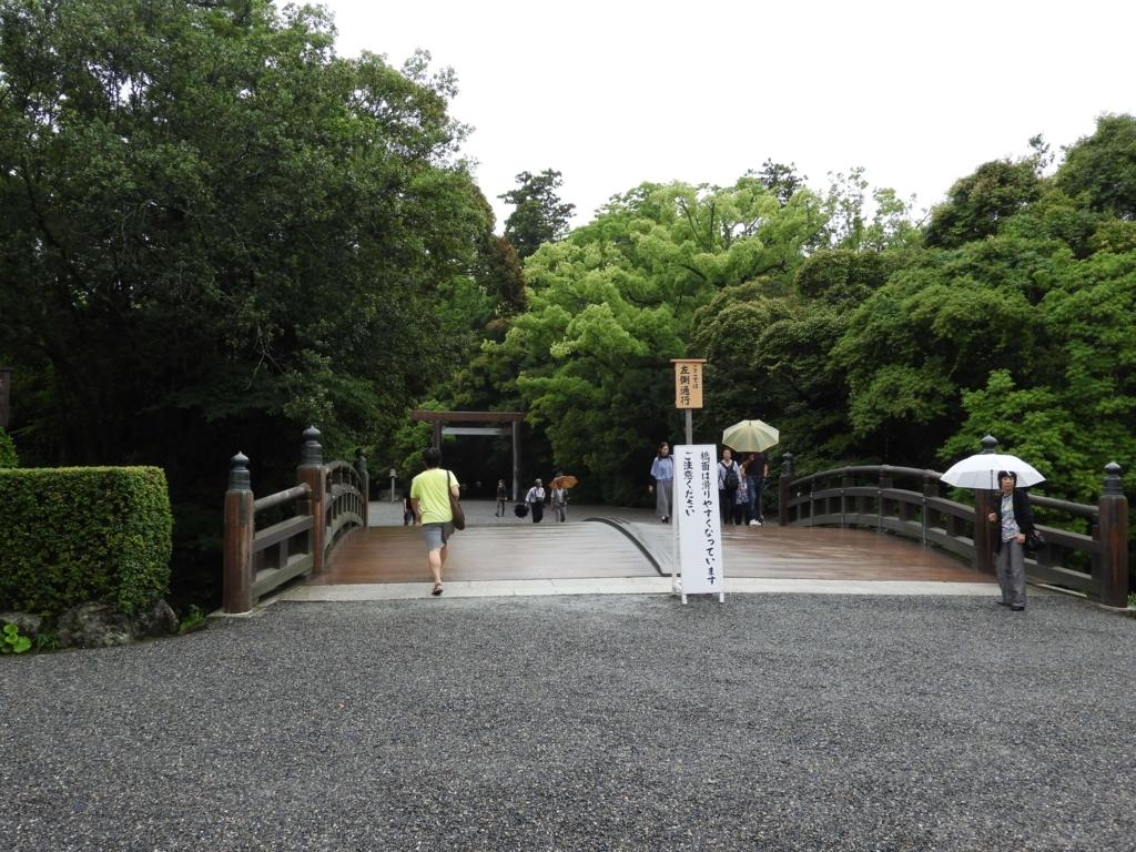 堀川と火除橋。これからお参りに行く人と帰ってきた人がすれ違っている。笠をさしているとさして人いない人がいる。火除け橋の向こうはうっそうとした神宮の森。