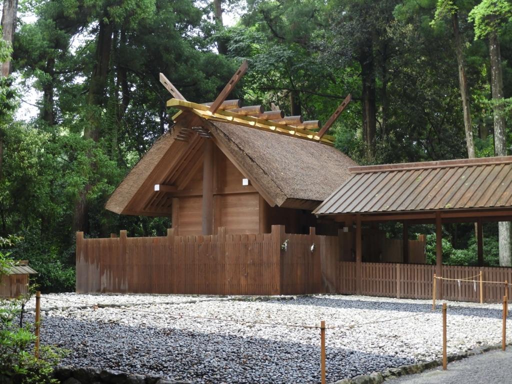 神宮の森の手前にある外宮別宮の土宮。さらに手前古殿地がある。