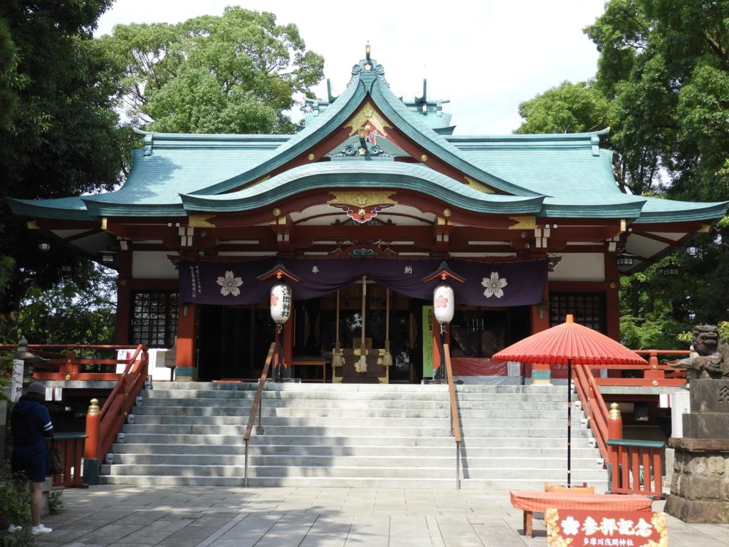 東京都内で唯一の浅間造りの多摩川浅間神社の社殿