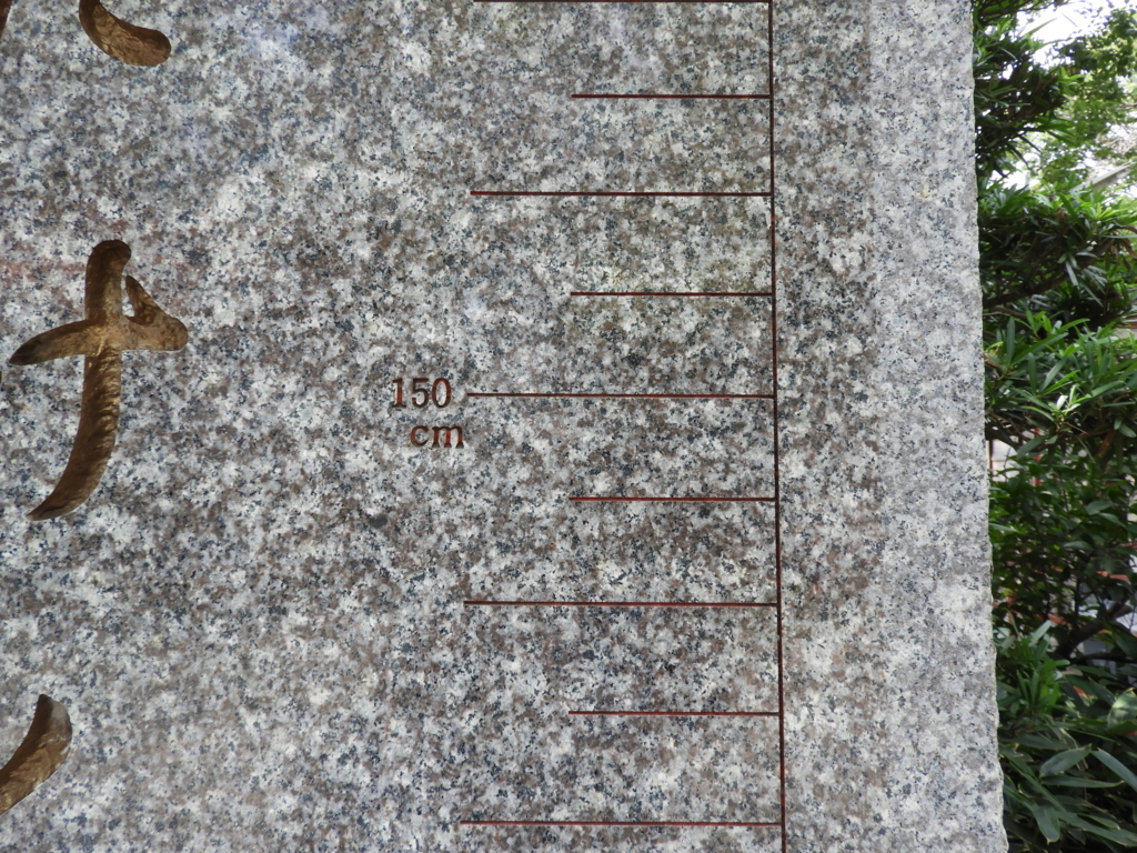 「たけくらべ」の石碑に細かく刻まれた目盛り