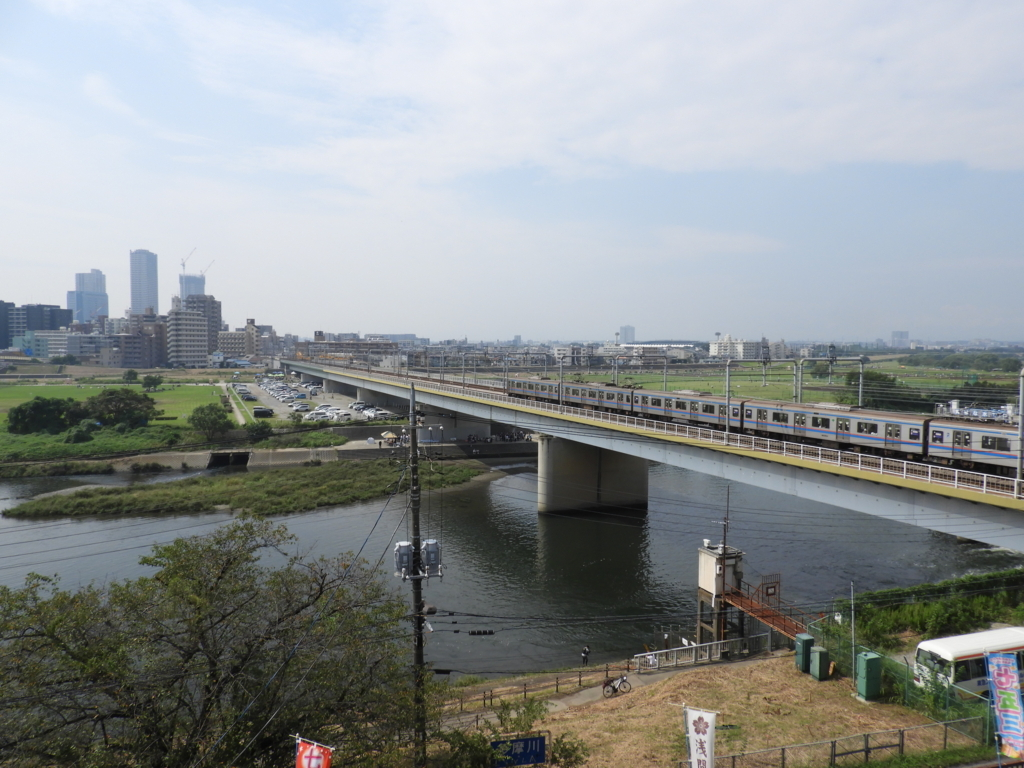 多摩川浅間神社の社務所屋上からの眺望