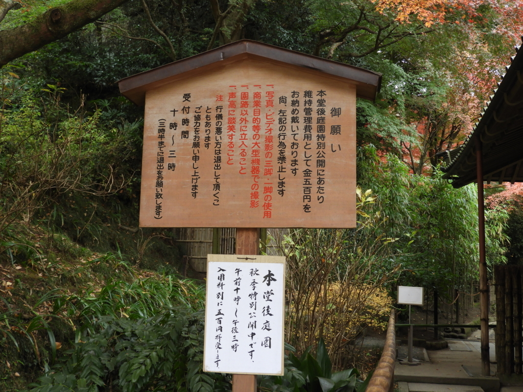 明月院の本堂後庭園特別公開の看板