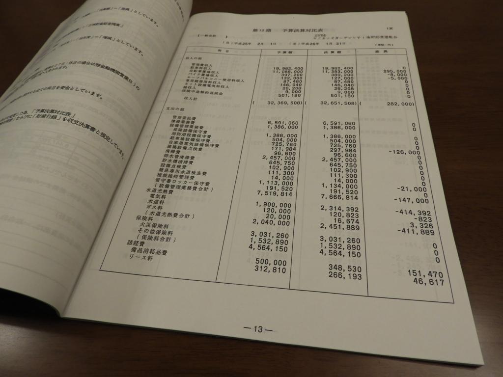 管理組合の収支計算書