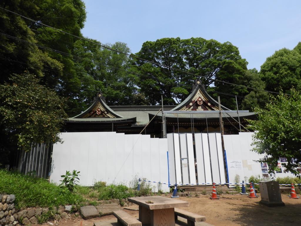 大修理実施中の社殿