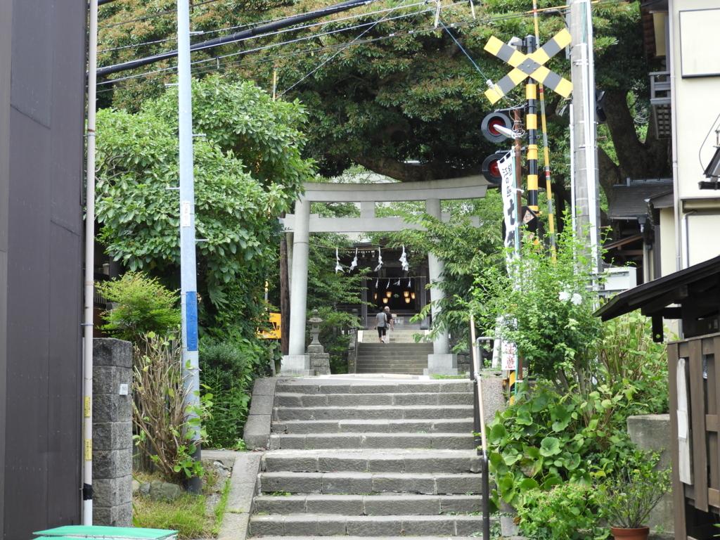 鳥居のすぐ前に江ノ電の踏切