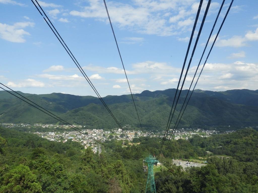 山頂に上がるロープウェイからの眺望
