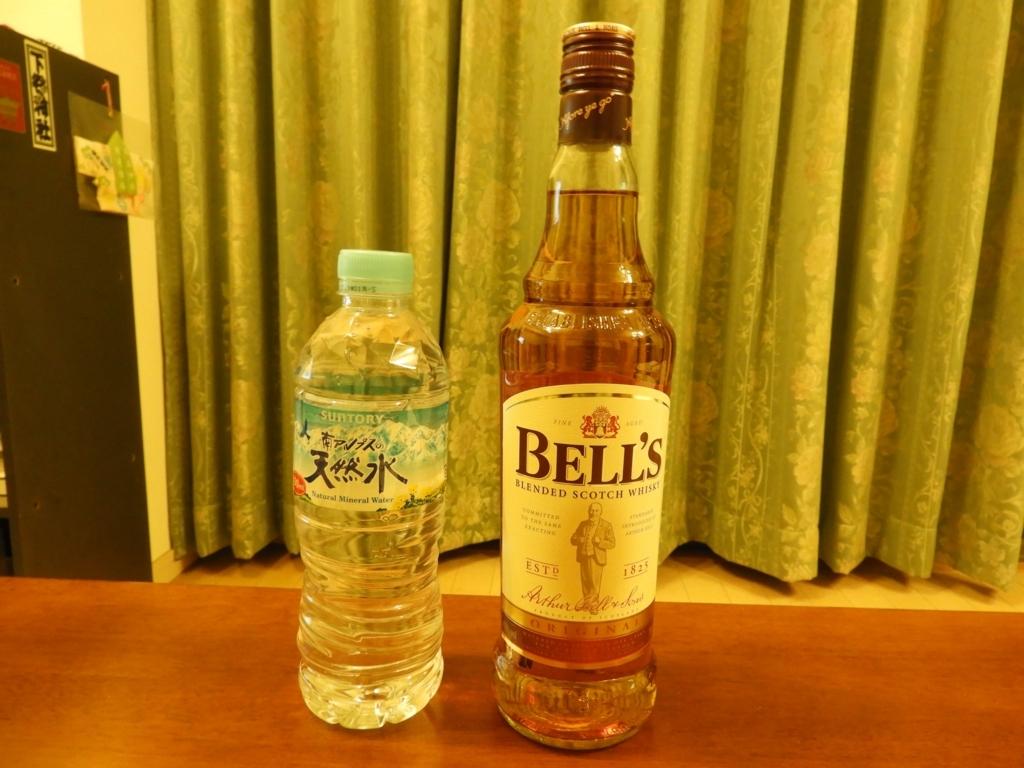 ベル スコッチウィスキー オリジナルと南アルプスの天然水