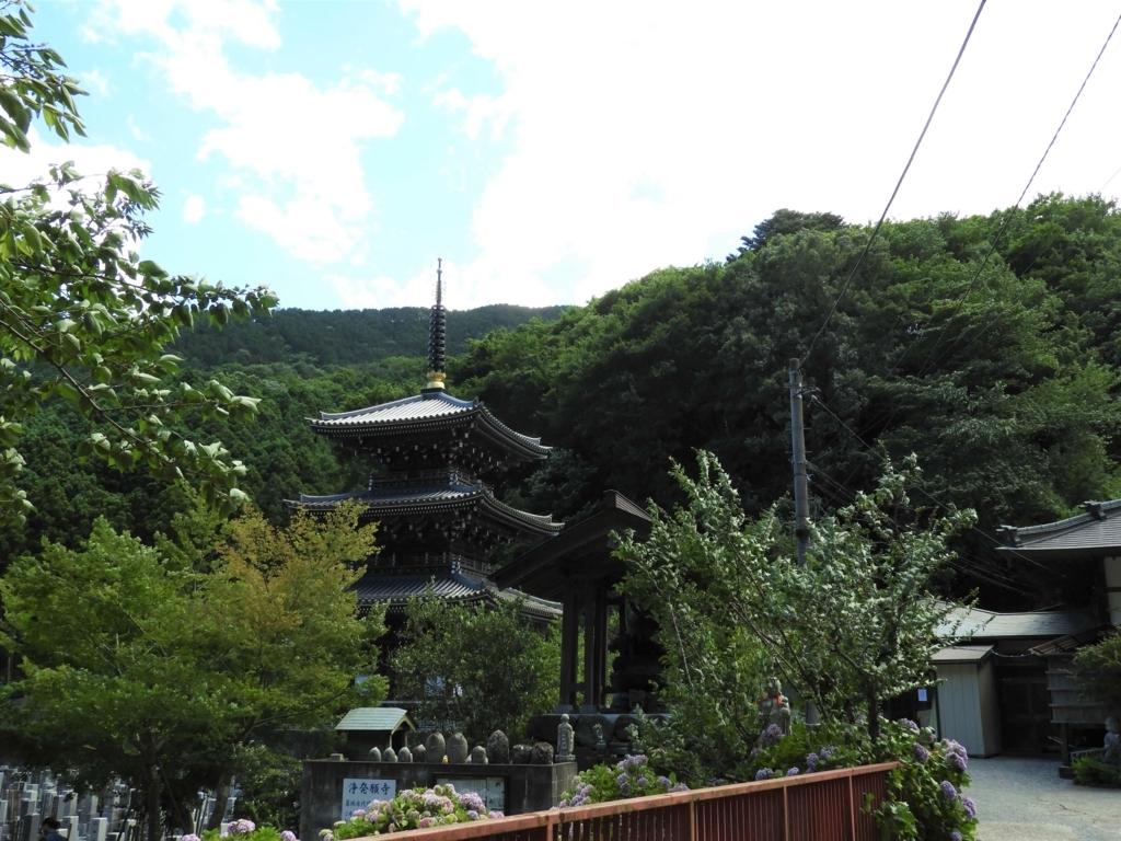 山中にいきなり出現する三重塔