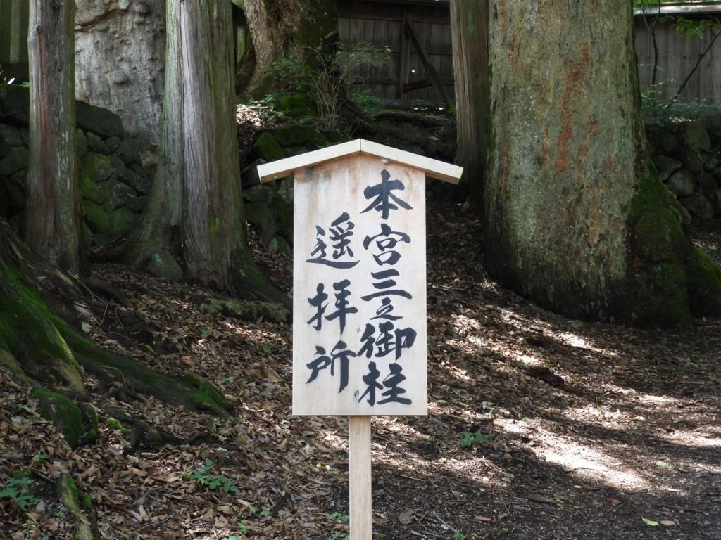 「三之御柱遥拝所」の看板