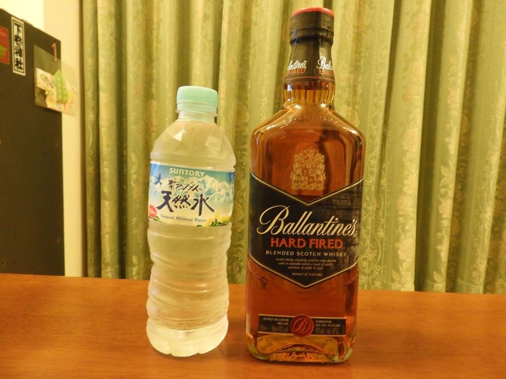 バランタインハードファイアードと南アルプスの天然水