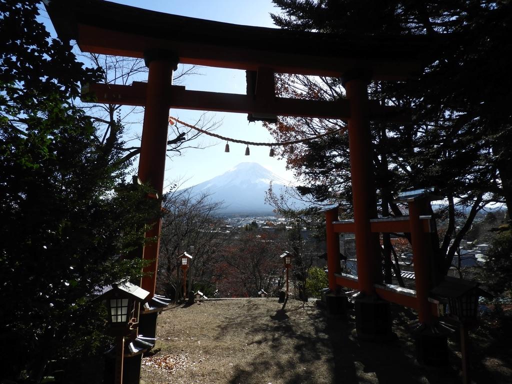 大鳥居の内側から見た富士山