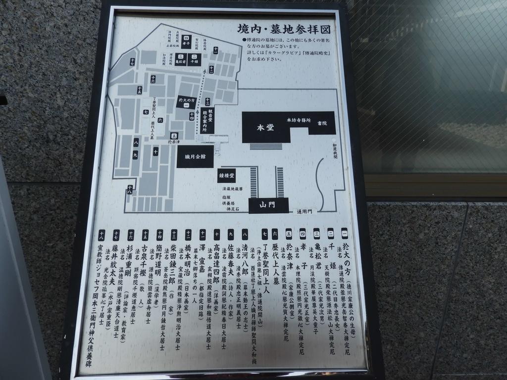 傳通院墓地の案内図