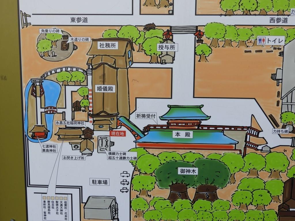 本殿東側の案内図