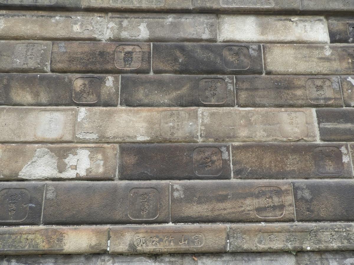 寄進者の名前が刻まれた石垣
