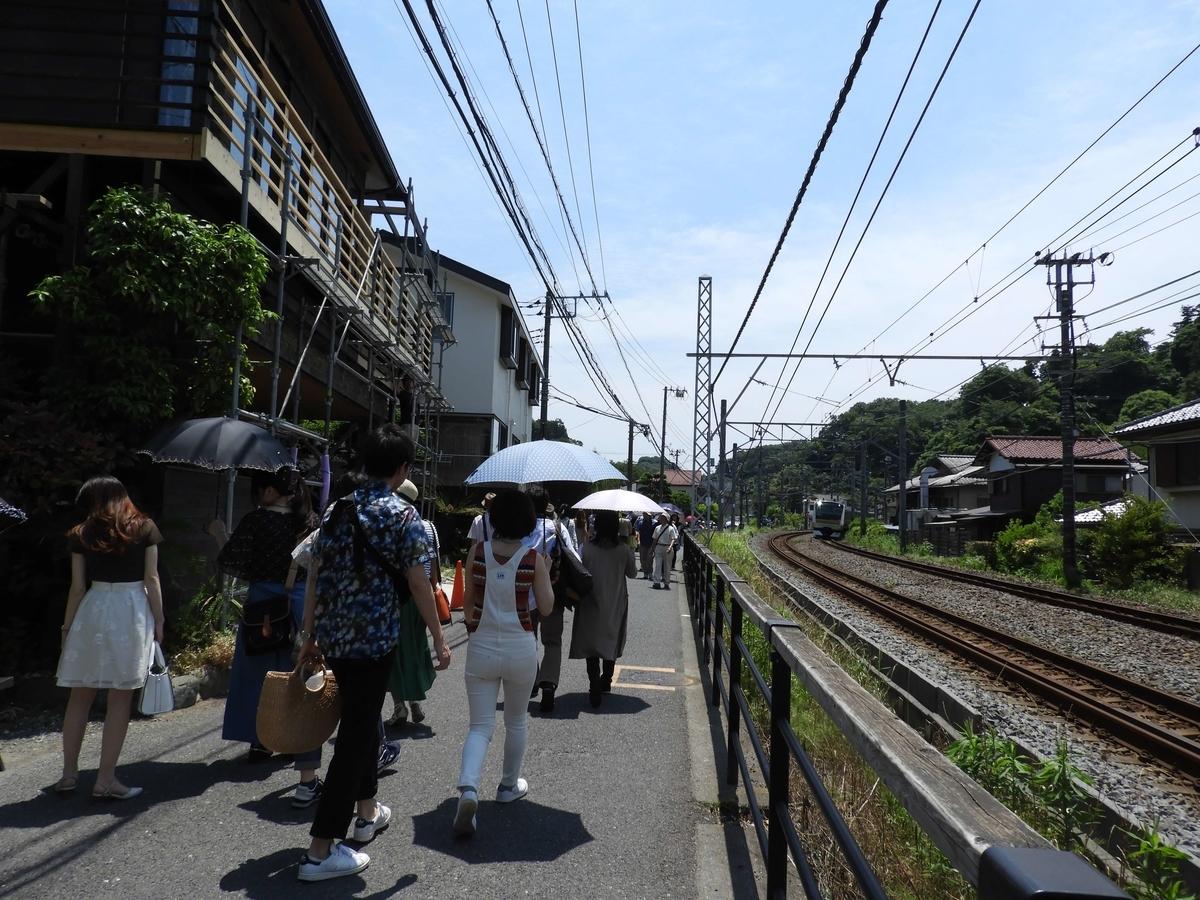 線路沿いを歩く観光客