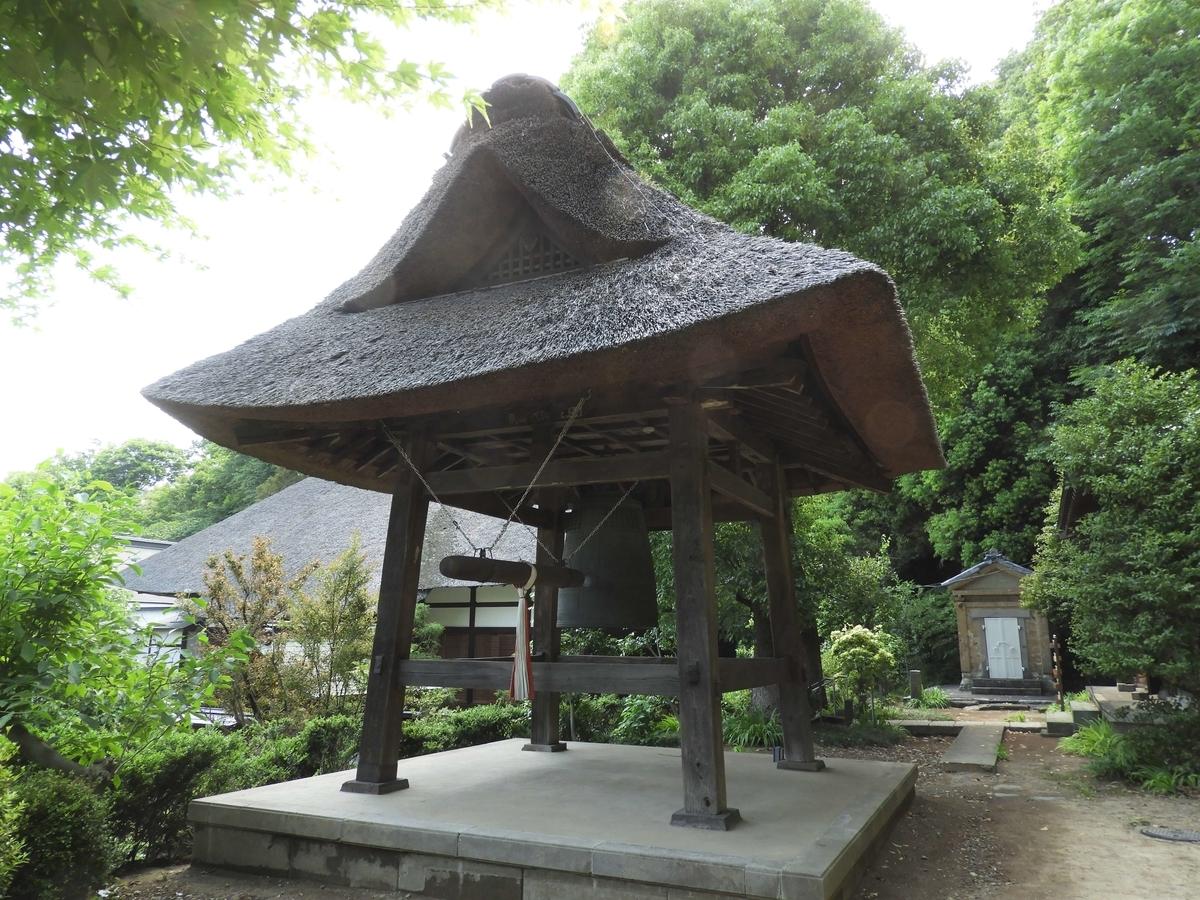 西方寺の茅葺屋根の鐘楼堂