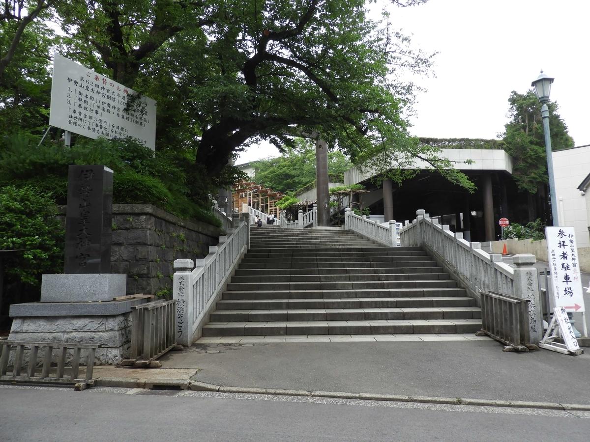 伊勢山皇大神宮の表参道である長い階段