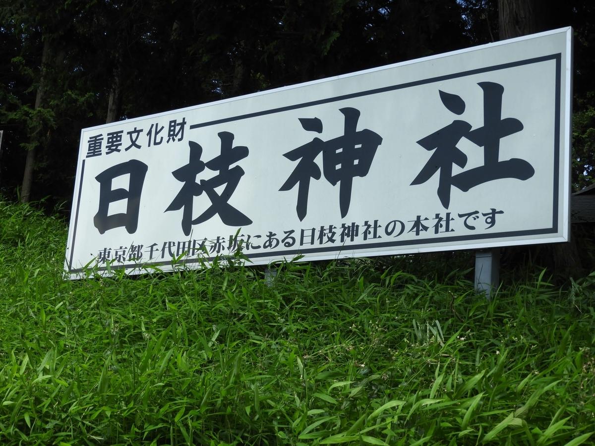 日枝神社の看板