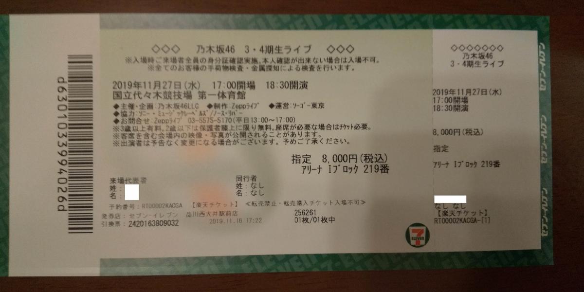 27日のチケット