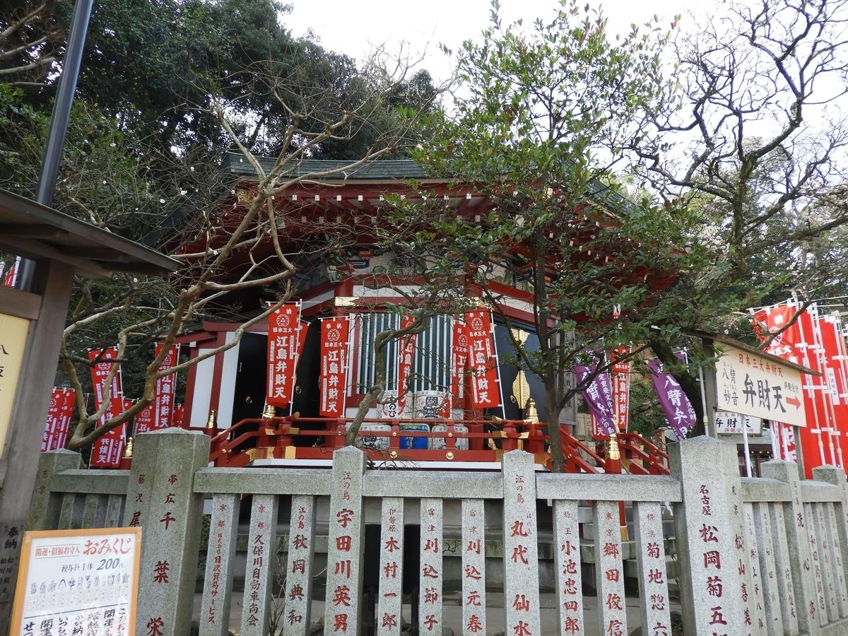 朱色の幟が立ち並ぶ六角形の奉安殿