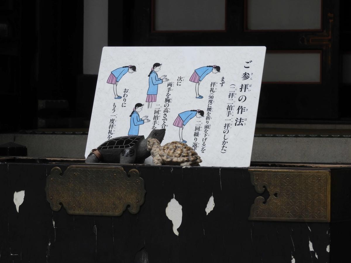 賽銭箱の上の亀